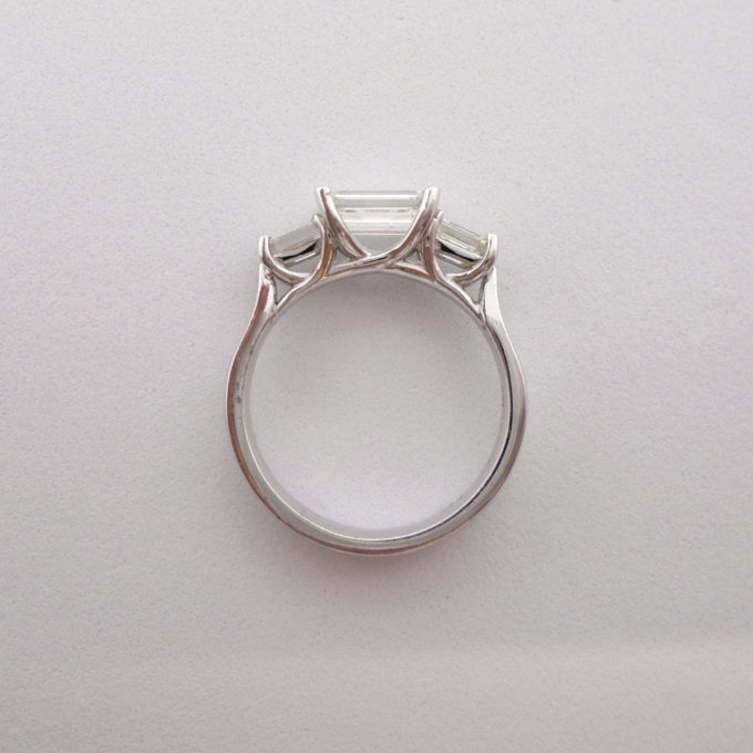 Top down view of baguette ring