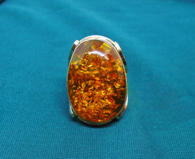 Amber ring from the front