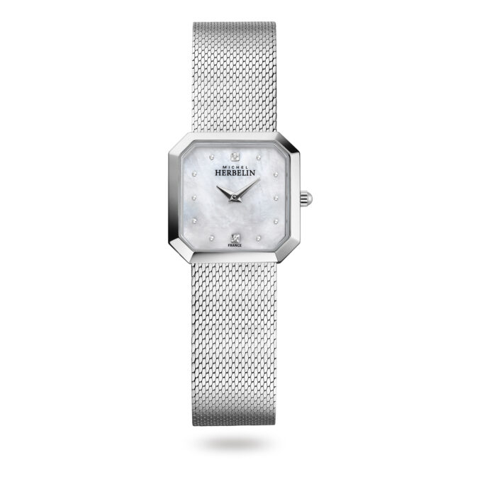 The Octôgane Watch - with a silver mesh bracelet and a white mother of pearl face